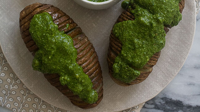 Hasselbeck Potatoes with Spinach Pesto recipe