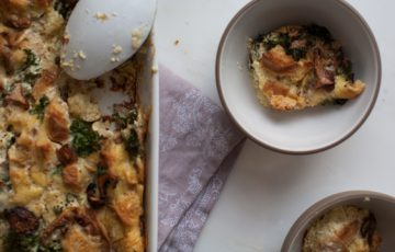 Smoked Cheesy Kale and Mushroom Strata recipe