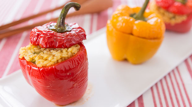 Roasted Stuffed Peppers with Chicken and Rice recipe