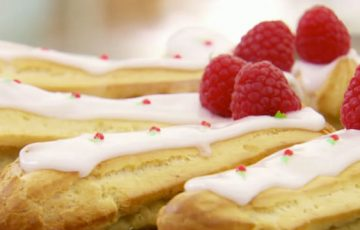 Raspberry Ripple Eclairs recipe