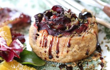 Beet Tarts with Goat Cheese with Caramelized Onions
