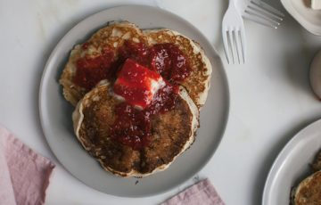 Ricotta Pancakes with Simmered Raspberries recipe