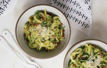 Zucchini Noodles with Pea Pesto