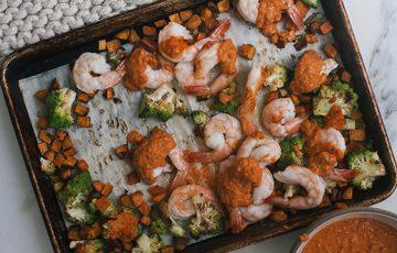 Sheet-Pan Shrimp Romesco Dinner Recipe