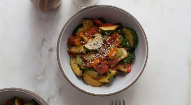 Late Summer Succotash with Mustard Greens recipe