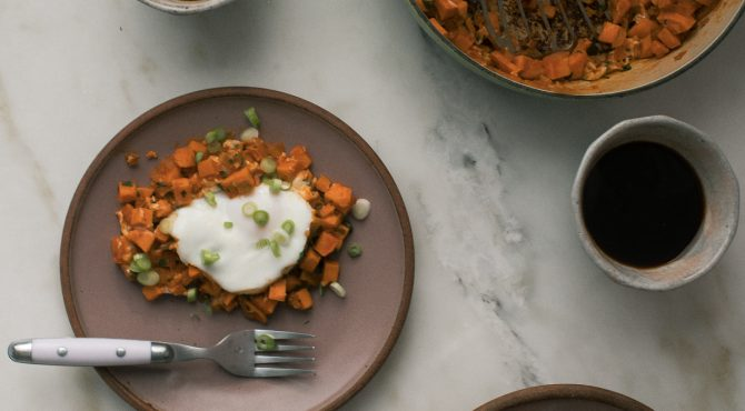 Harissa Sweet Potato Hash