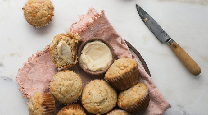 rhubarb white chocolate muffin