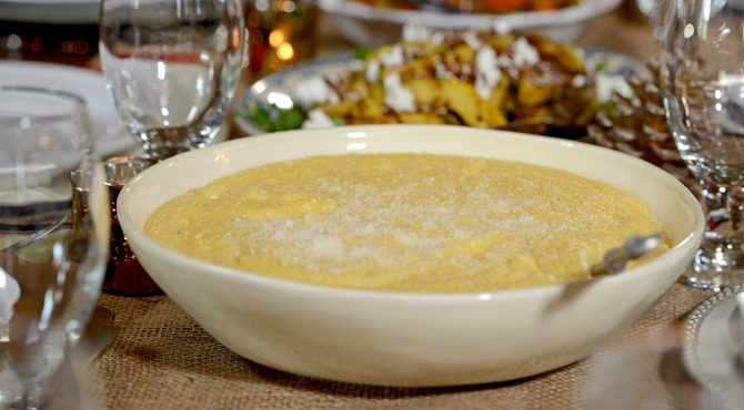 Polenta, inspired by the corn and tamales Lidia ate in Texas